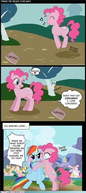 Pinkie reads cupcakes