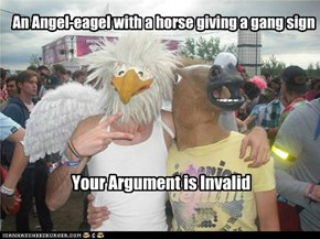 An Angel-eagel with a horse giving a gang sign