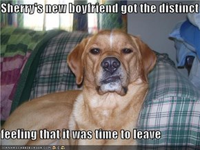 Sherry's new boyfriend got the distinct   feeling that it was time to leave