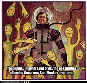 That night, Jimmy dreamt of ALL the possibilties of having those new Sea-Monkey creatures.