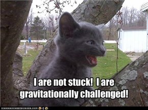 I are not stuck!  I are gravitationally challenged!