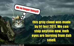 this gray cloud was made by frt fest 2011. We cen stop anytime now, meh eyes are burning frum dah smell.