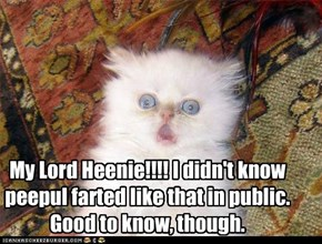 My Lord Heenie!!!! I didn't know peepul farted like that in public. Good to know, though.