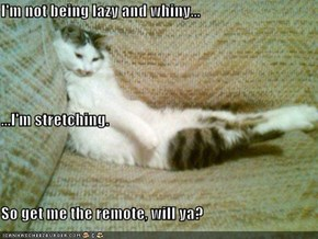 I'm not being lazy and whiny... ...I'm stretching. So get me the remote, will ya?