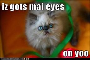 iz gots mai eyes  on yoo