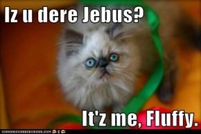 Iz u dere Jebus?  It'z me, Fluffy.