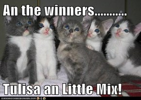 An the winners...........  Tulisa an Little Mix!