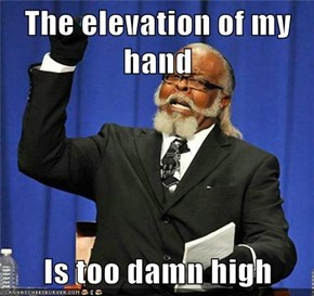 The elevation of my hand  Is too damn high