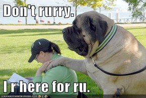 Don't rurry.  I r here for ru.