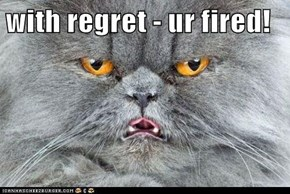 with regret - ur fired!