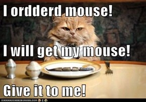 I ordderd mouse! I will get my mouse! Give it to me!
