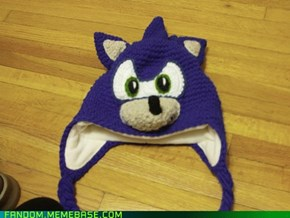 Hand knitted Sonic the Hedgehog hat