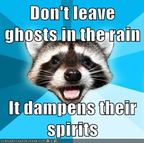 Don't leave ghosts in the rain  It dampens their spirits