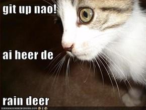 git up nao! ai heer de  rain deer