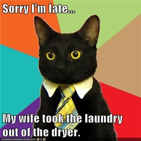 Sorry I'm late...  My wife took the laundry out of the dryer.