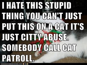 I HATE THIS STUPID THING YOU CAN'T JUST PUT THIS ON A CAT IT'S JUST CITTY ABUSE. SOMEBODY CALL CAT PATROLL.