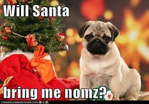 Will Santa  bring me nomz?