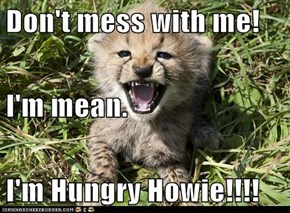 Don't mess with me! I'm mean. I'm Hungry Howie!!!!