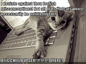 "I deviate against thou foolish misconceptions! Not all of us ""lolcats"" must necessarily be unintelligent!    OMG CHEEZBURGER!?!?!?!? WERE?"