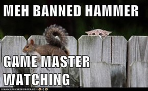 MEH BANNED HAMMER  GAME MASTER WATCHING