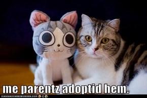 me parentz adoptid hem.
