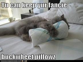 Yu can keep yur fancie  buckwheet pillowz