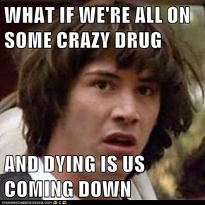 WHAT IF WE'RE ALL ON SOME CRAZY DRUG  AND DYING IS US COMING DOWN