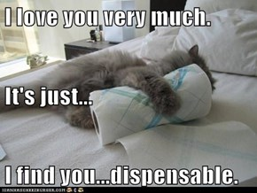 I love you very much.  It's just... I find you...dispensable.
