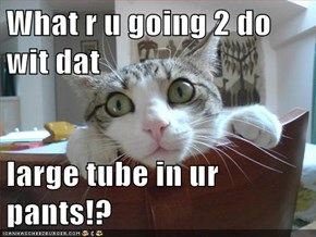 What r u going 2 do wit dat  large tube in ur pants!?