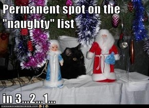 "Permanent spot on the ""naughty"" list  in 3...2...1..."