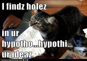 I findz holez  in ur hypotho...hypothi...     ur ideaz.