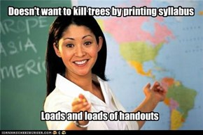 Doesn't want to kill trees by printing syllabus
