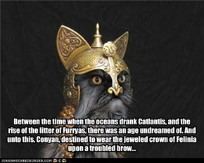 Between the time when the oceans drank Catlantis, and the rise of the litter of Furryas, there was an age undreamed of. And unto this, Conyan, destined to wear the jeweled crown of Felinia upon a troubled brow...