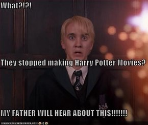 What?!?! They stopped making Harry Potter Movies? MY FATHER WILL HEAR ABOUT THIS!!!!!!!