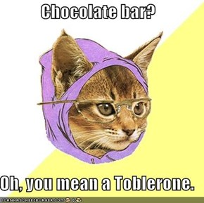 Chocolate bar?  Oh, you mean a Toblerone.
