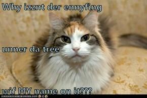Why izznt der ennyfing  unner da tree wif MY name on it???