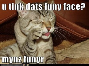 u tink dats funy face?  mynz funyr