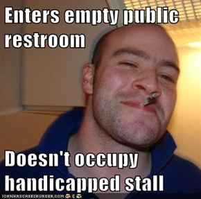 Enters empty public restroom  Doesn't occupy handicapped stall