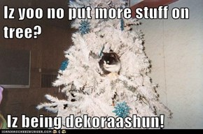 Iz yoo no put more stuff on tree?   Iz being dekoraashun!