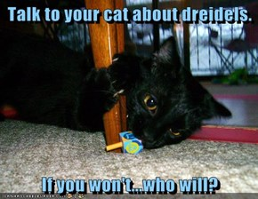 Talk to your cat about dreidels.  If you won't...who will?