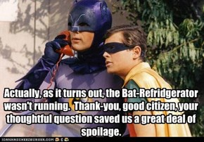 Actually, as it turns out, the Bat-Refridgerator wasn't running.  Thank-you, good citizen, your thoughtful question saved us a great deal of spoilage.