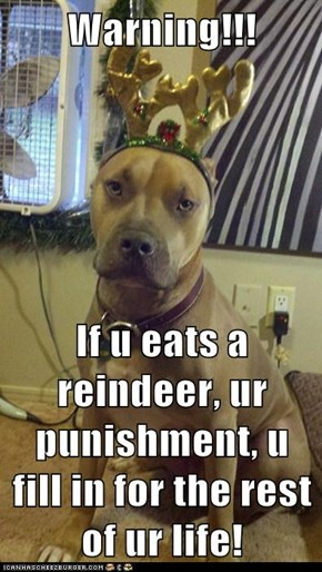 Warning!!!  If u eats a reindeer, ur punishment, u fill in for the rest of ur life!