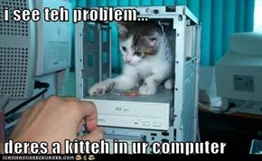 i see teh problem...  deres a kitteh in ur computer