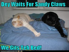 Dey Waits Fur Sandy Claws  We Gits Teh Bed!