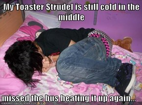 My Toaster Strudel is still cold in the middle  missed the bus heating it up again...