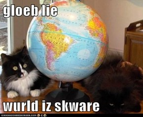 gloeb lie  wurld iz skware