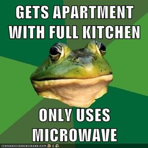 GETS APARTMENT WITH FULL KITCHEN  ONLY USES MICROWAVE
