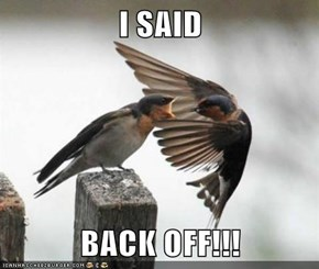 I SAID  BACK OFF!!!