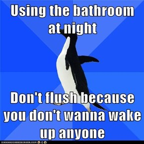 Using the bathroom at night  Don't flush because you don't wanna wake up anyone