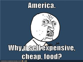 America.  Why u sell expensive, cheap, food?
